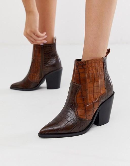 ASOS DESIGN Elliot western boots in brown croc   ASOS
