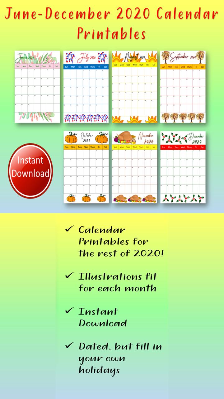 2020 Calendar Printables For June December In 2020 Blog Planner
