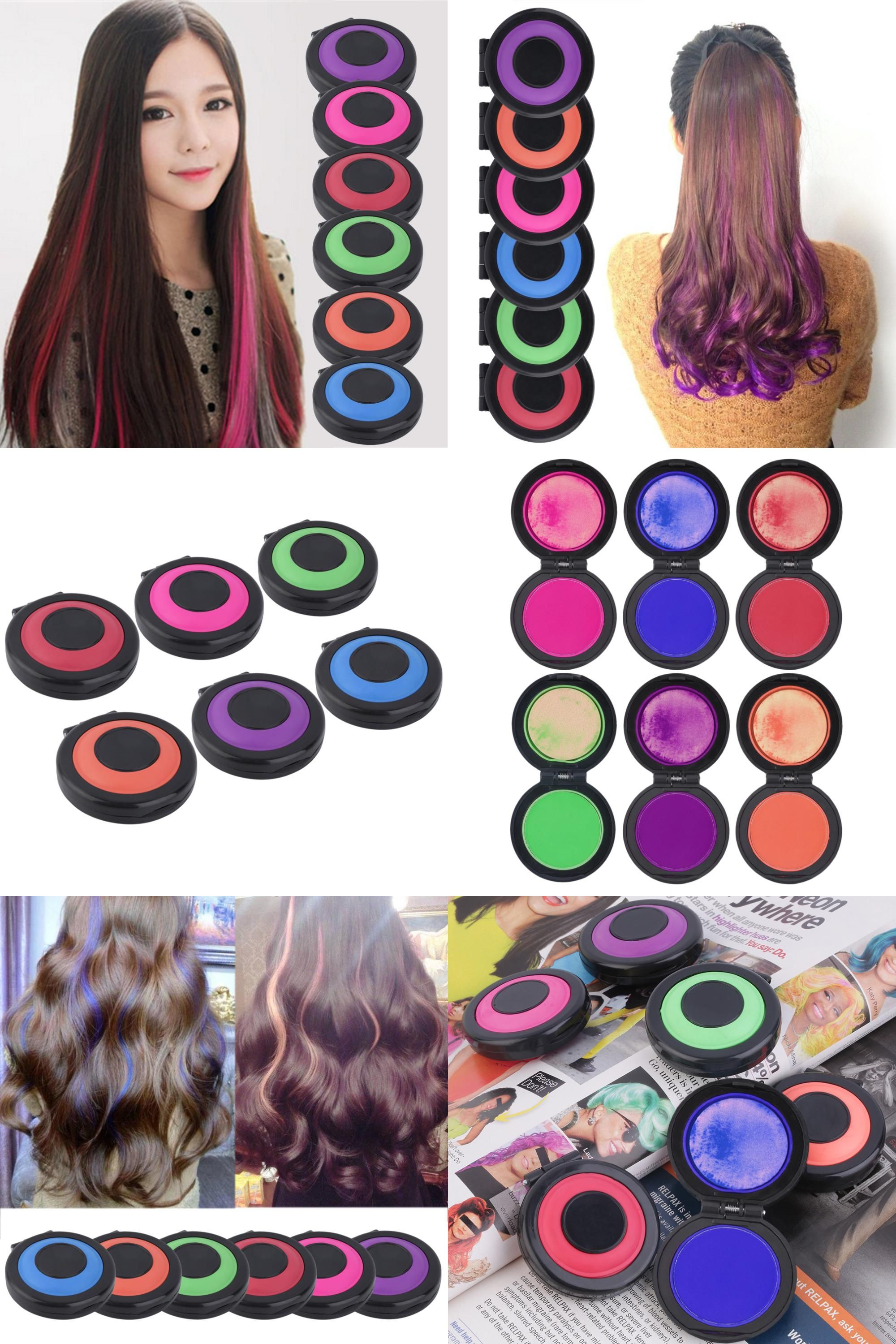 Visit To Buy Professional 6 Colors Temporary Hair Dye Powder Cake