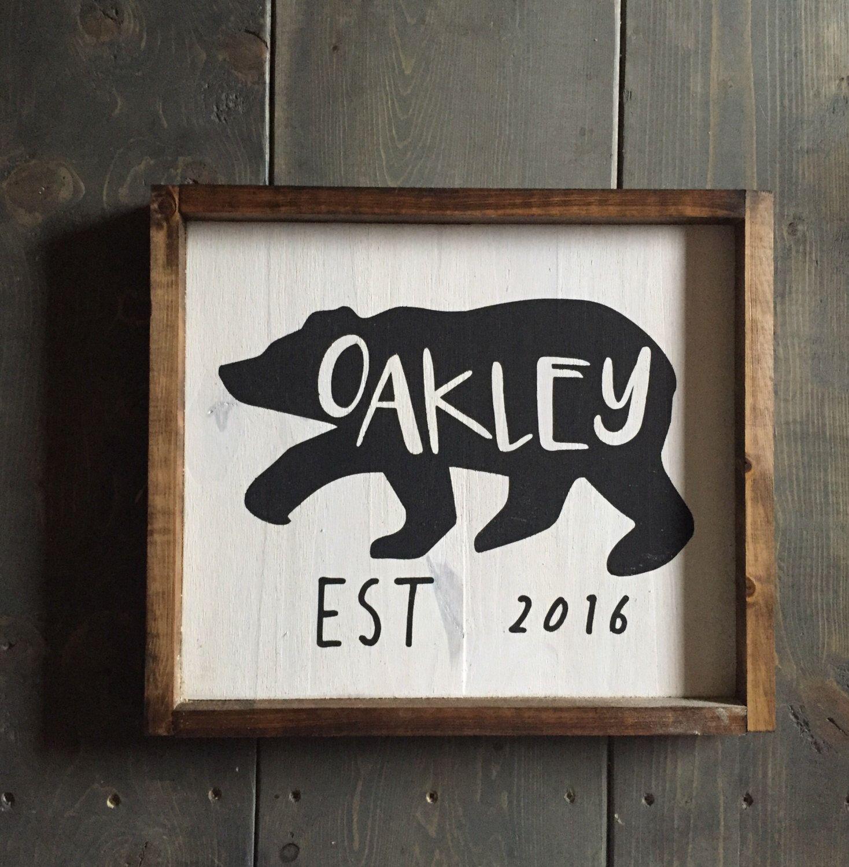 Bear Name Sign Custom Nursery Sign Rustic Nursery
