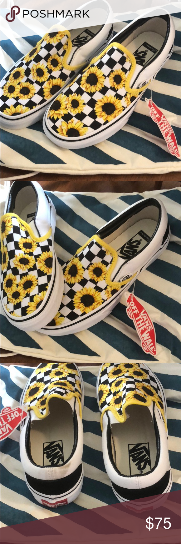 Custom sunflower Vans slip on BNWT! I ordered the wrong size so my loss is your  gain! These are BOYS SIZE 4 Classic Slip On Vans. Super cute black and  white ... 10016a72e