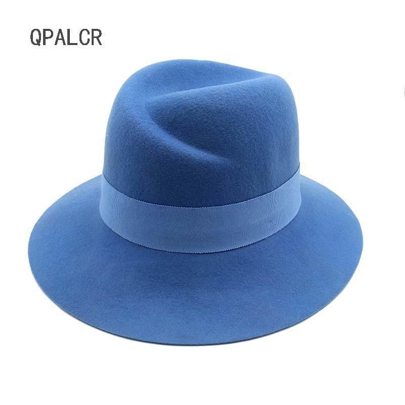 fd6454daadd QPALCR 2018 Spring England Style Vintage Woman Mens Fedora Hat Felt Caps  Wholesale Wide Brim Blue