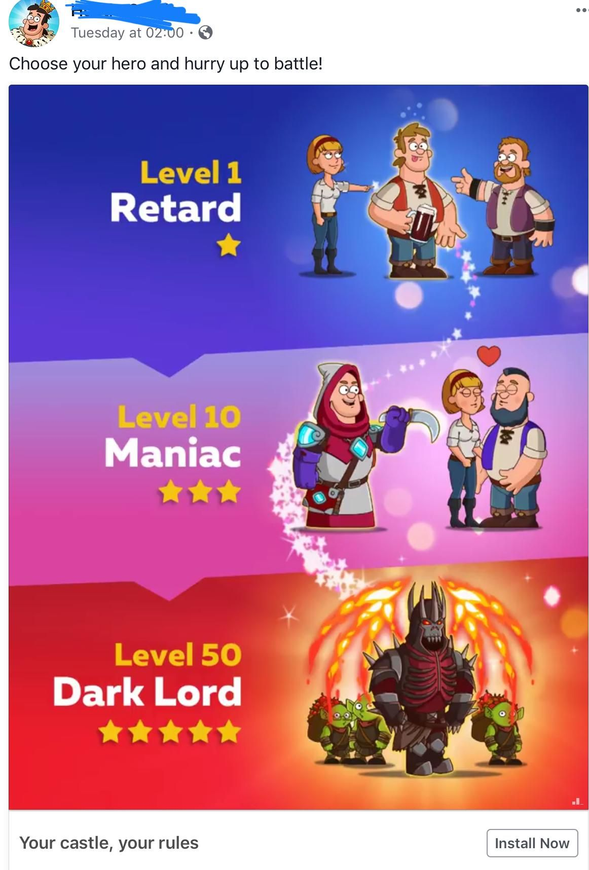The collection of odd mobile game ads grows. Mobile game