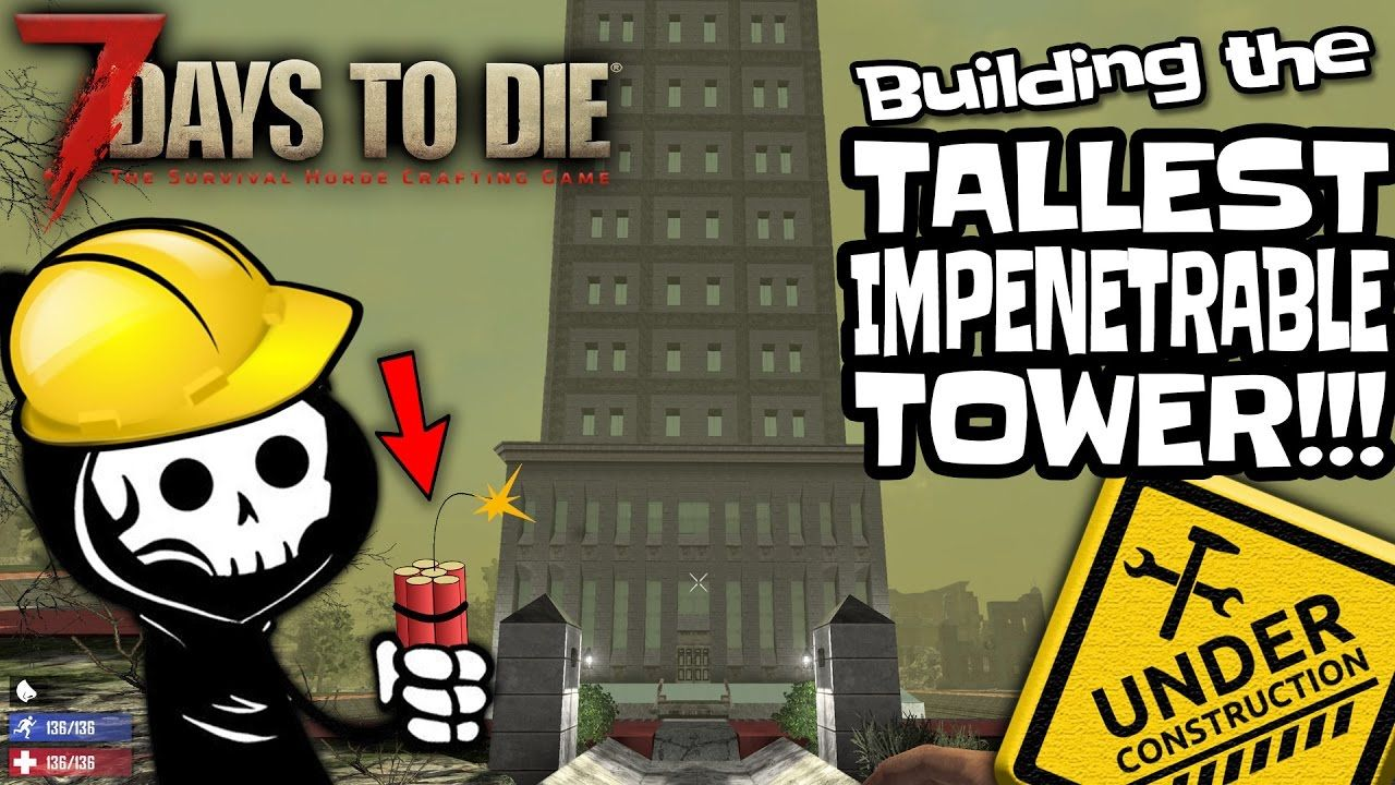 Using Explosives To Build A Tower Base To Fend Off Zombies In 7