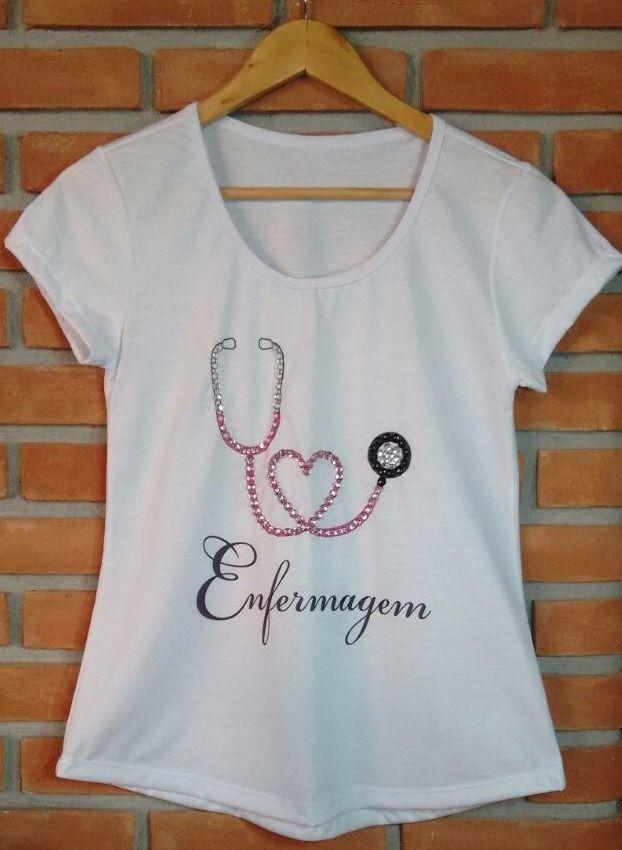 T-shirt Enfermagem - 100% poliéster com bordado. Whats 17 997359289 ... 03e9db3fef6