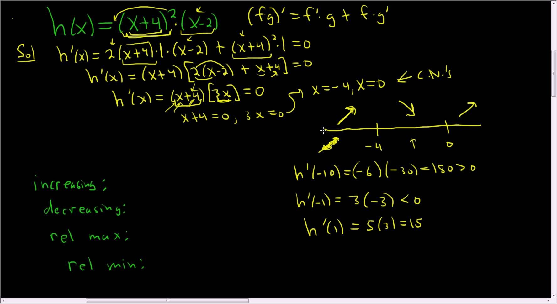 how to find relative extrema from an equation