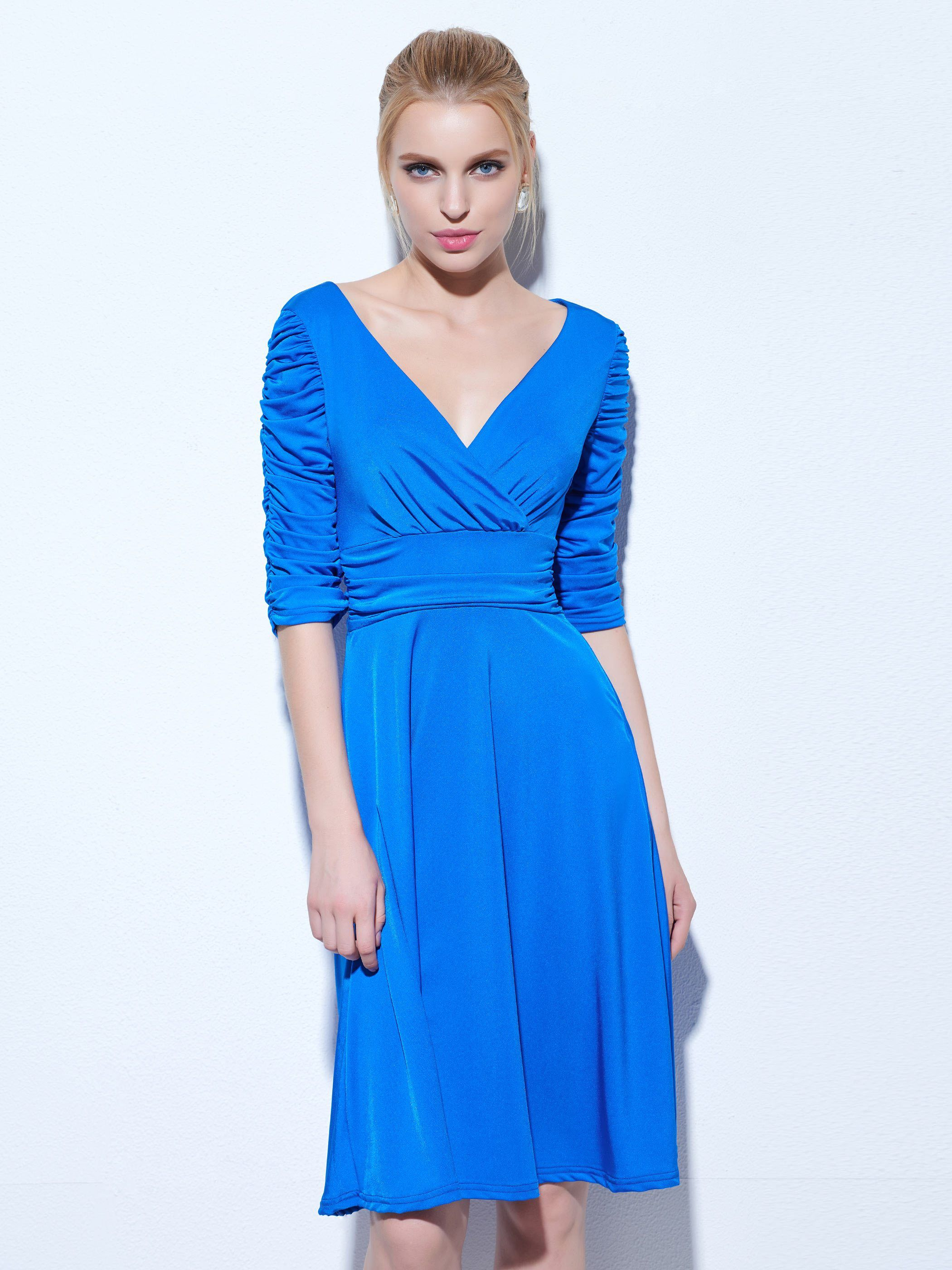 Royal blue vneck sold sleeves evening dress products