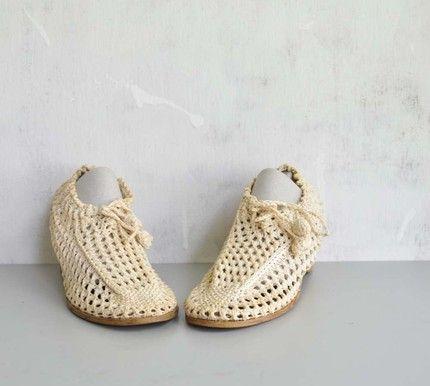 Half Finger Gloves Crochet Pattern | Vintage 70s Hippie CROCHET Wedge Heels by MariesVintage on Etsy ...