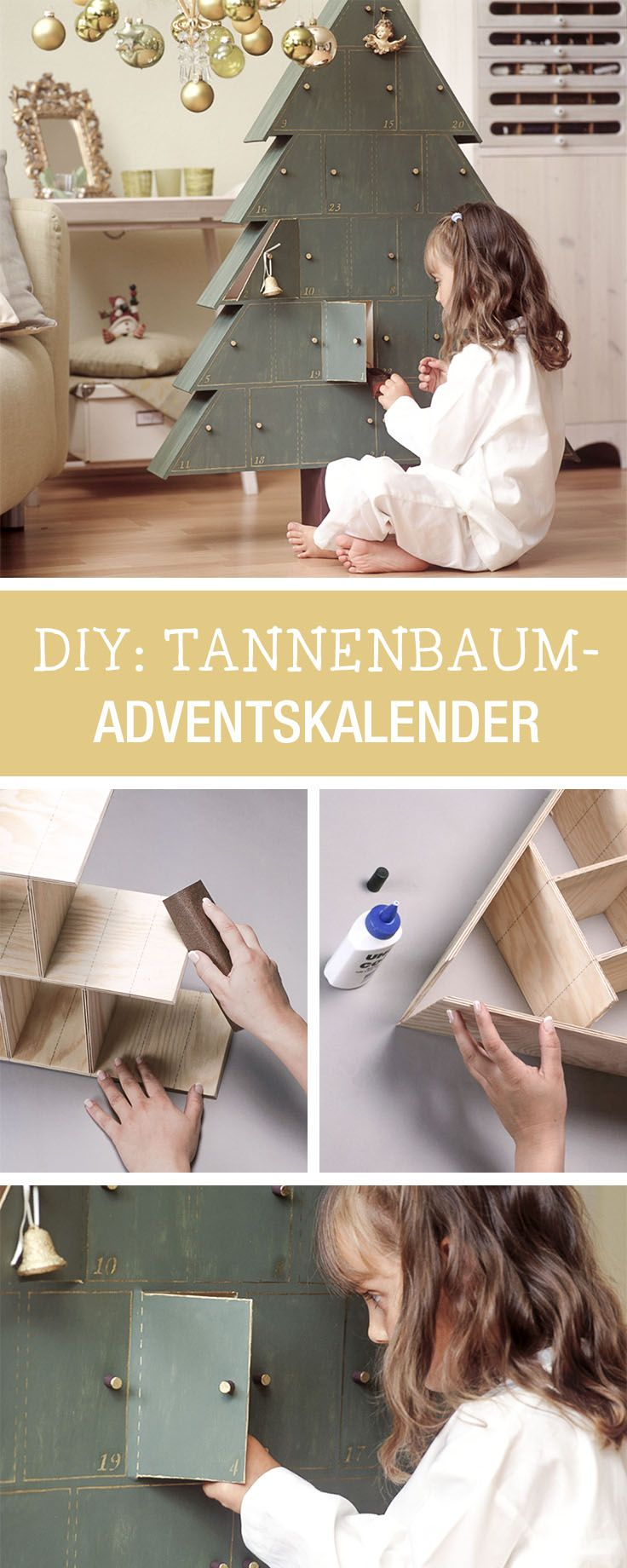 diy anleitung tannenbaum adventskalender aus holz basteln. Black Bedroom Furniture Sets. Home Design Ideas