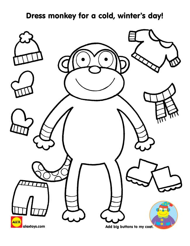 bundling up for winter free printables free printable monkey and winter. Black Bedroom Furniture Sets. Home Design Ideas