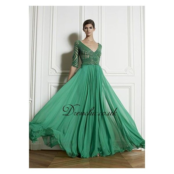 Long Sleeve Prom Dresses | Zuhair Mrad 3/4 Sleeve V Neck Green ...