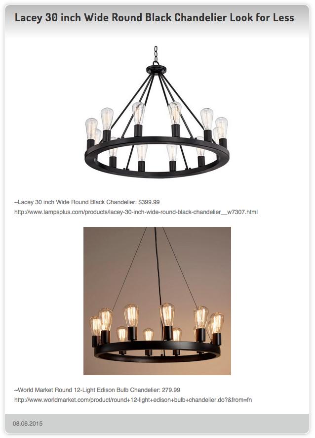 lacey 30 inch wide round black chandelier vs world market round 12light edison