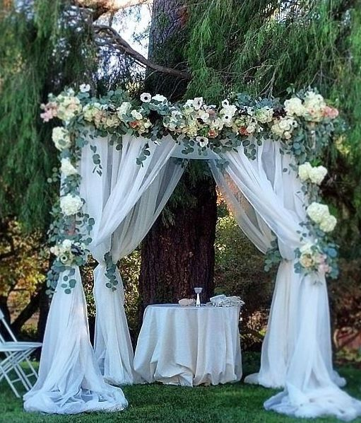 Tulle Wedding Altar: 20ft X 8ft White Dual Layer Chiffon Polyester Backdrop
