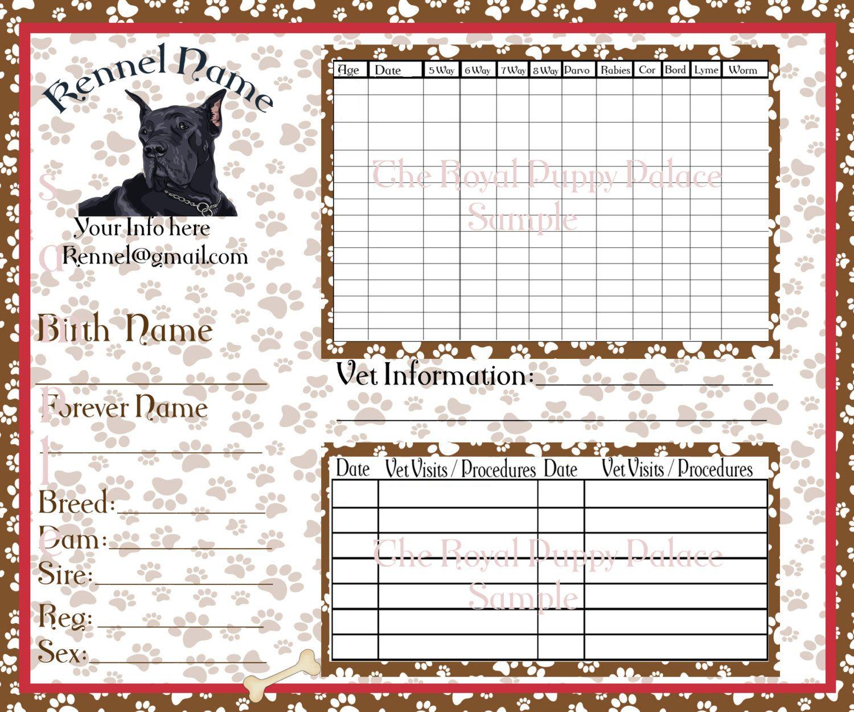 Digital great dane customizable vaccination cards for dog breeders digital great dane customizable vaccination cards for dog breeders puppy health record by nvjuhfo Choice Image