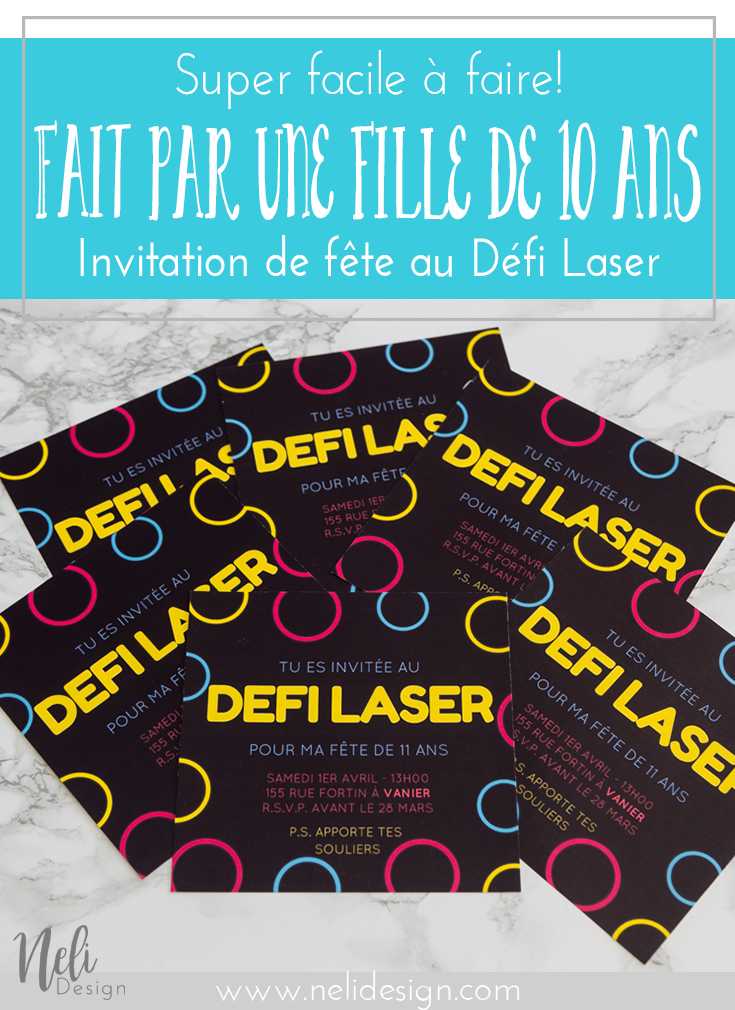 invitation pour une f te de fille au d fi laser invitation anniversaire laser et faire soi meme. Black Bedroom Furniture Sets. Home Design Ideas