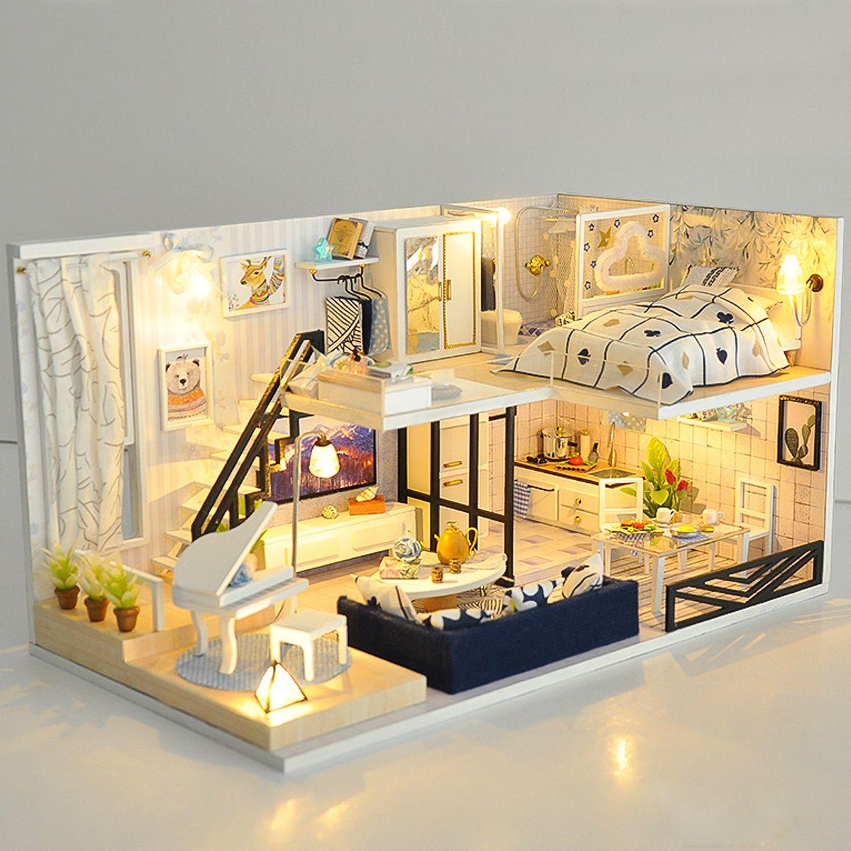 Christmas gift doll house miniature diy handcraft kit 3d