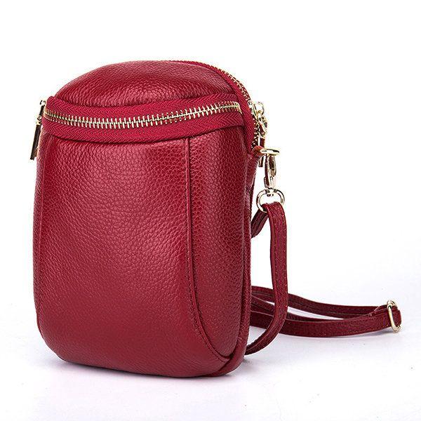 Women Genuine Leather Bucket Phone Bag Mini Crossbody Bag  2152a5df6742f
