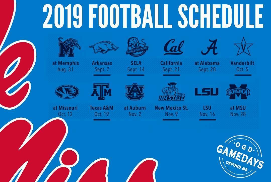 "Ole Miss Schedule 2019 Ole Miss Gameday Headquarters on Instagram: ""The 2019 football"