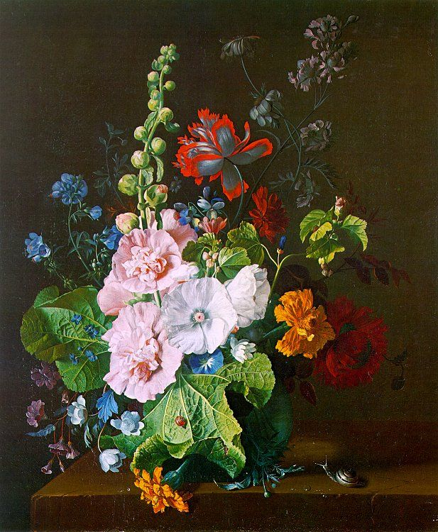 Hollyhocks and Other Flowers in a Vase, 1710, oil on canvas, National Gallery, London. Jan van Huysum.