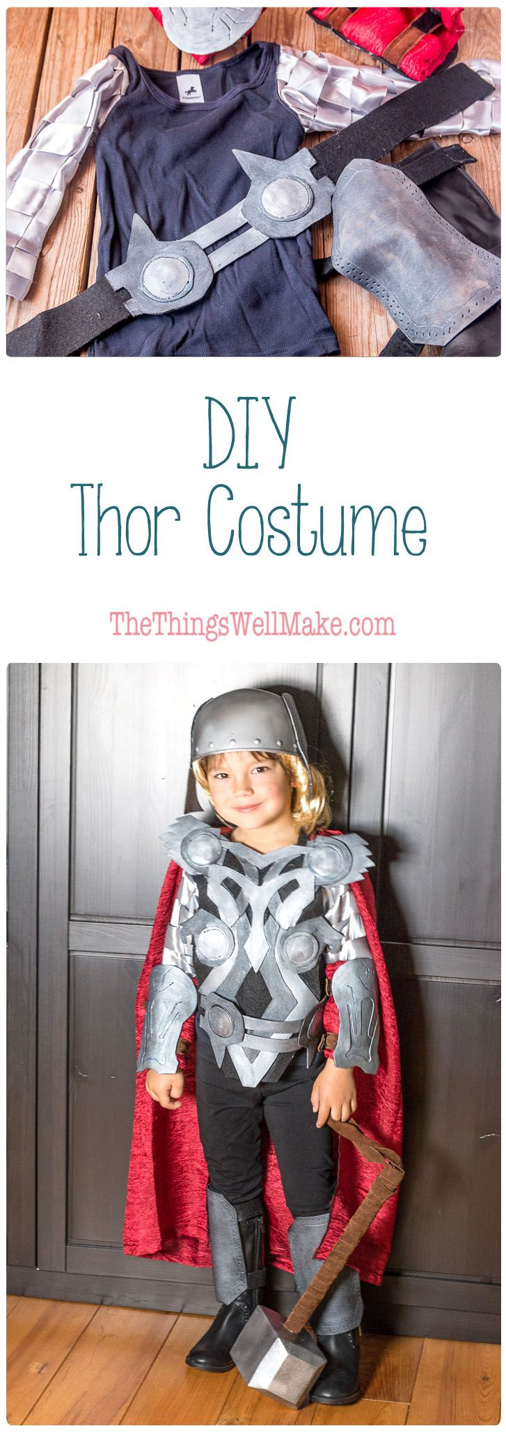 With a bit of hot glue, craft foam, felt, and paint, you can whip out this fun DIY Thor costume complete with a homemade hammer, vambraces, and helmet. via @thethingswellmake