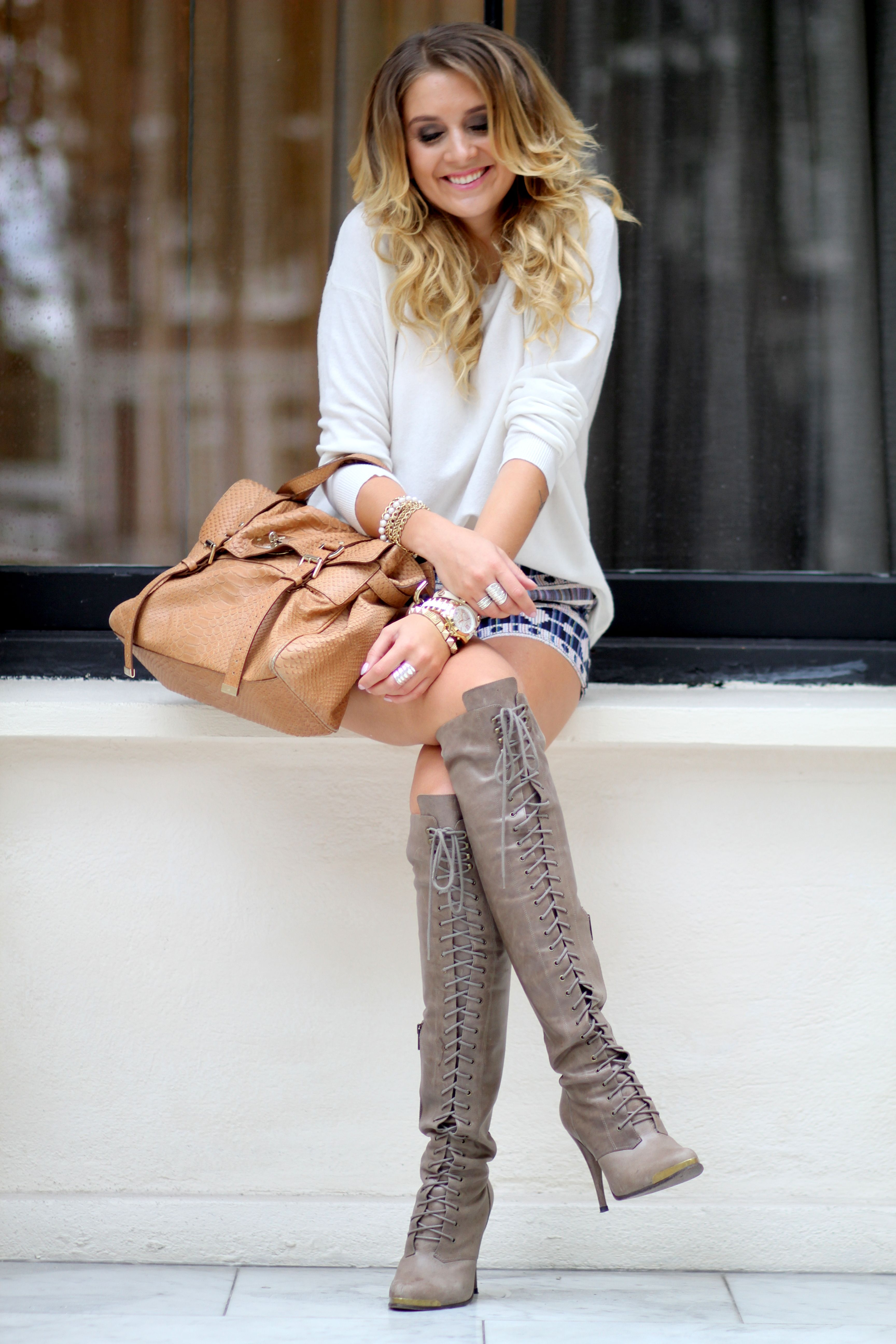 Forever sweater and shorts joie boots mulberry bag http