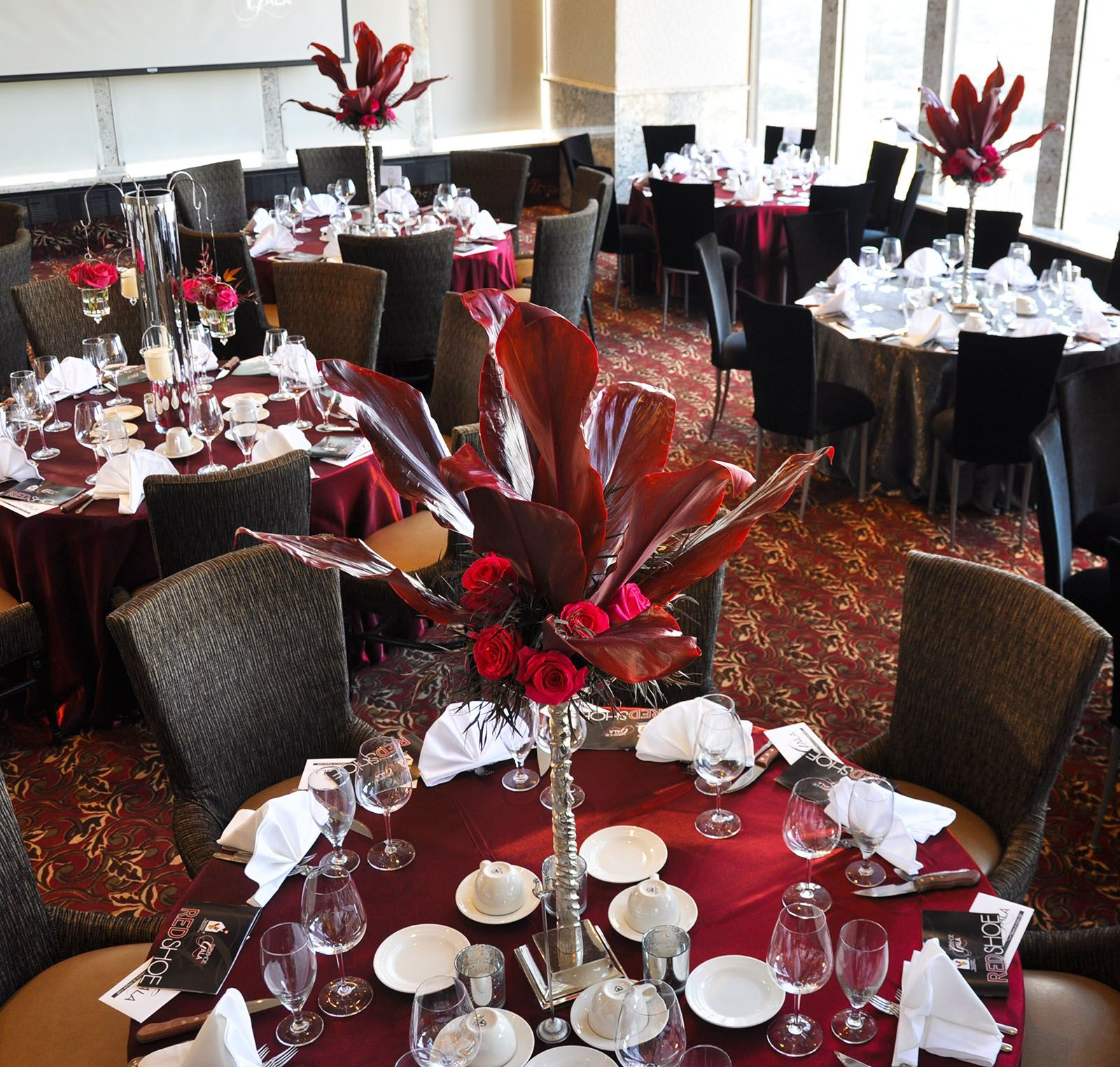 Beautiful tall centerpieces flowers red burgundy