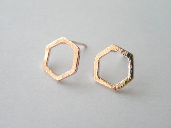 Hexagon earrings. Gold Hexagon Studs. Geometric studs. Simple earrings. Everyday studs. Small gold earrings. Gift for her.