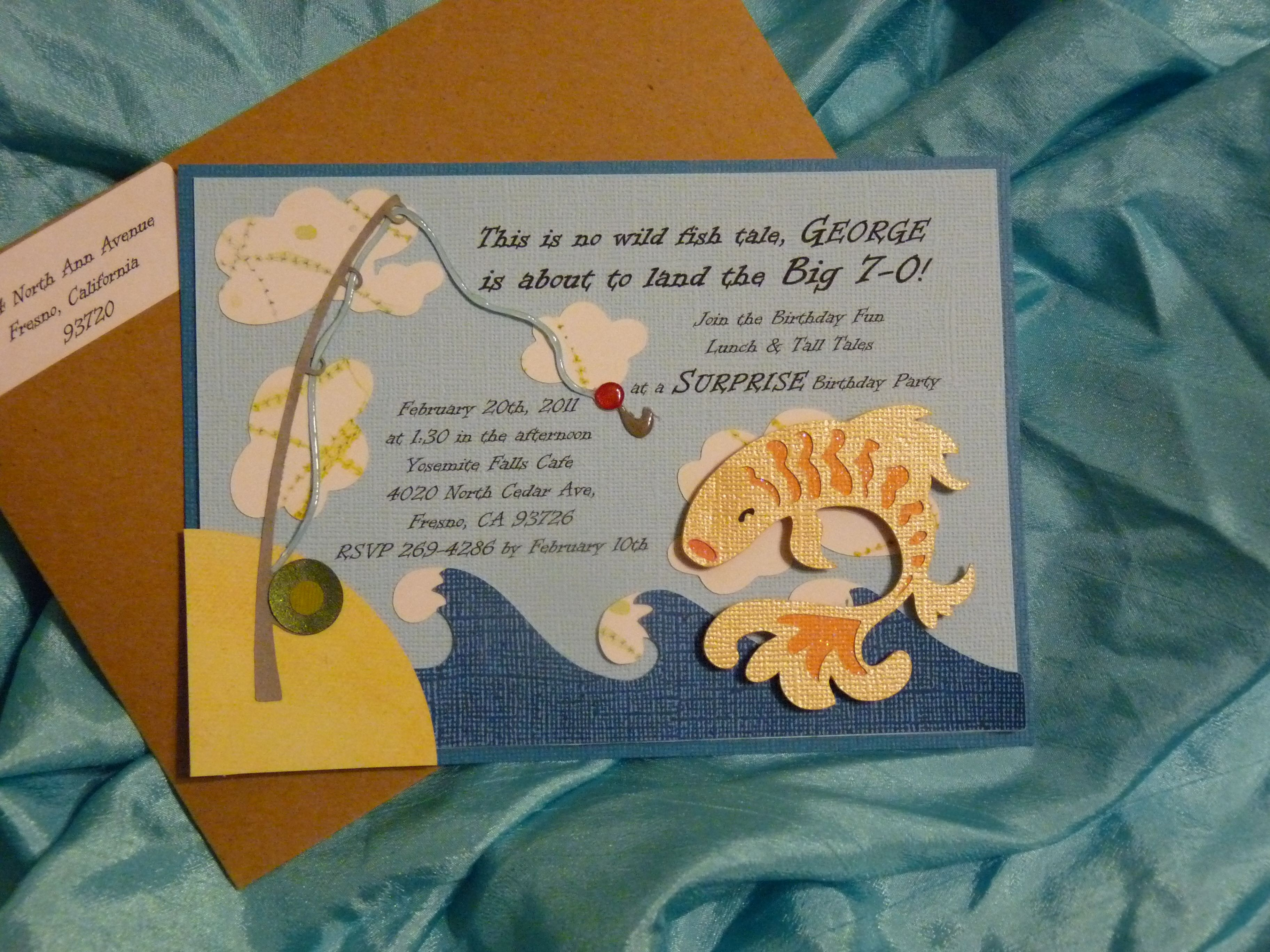 Adult Fishing Themed Surprise Party Invitations