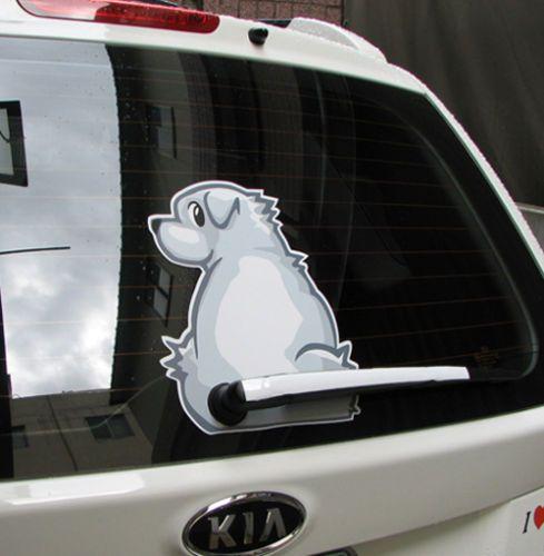 Decalques Fun / adesivo para carro-White Dog abanando o rabo | eBay