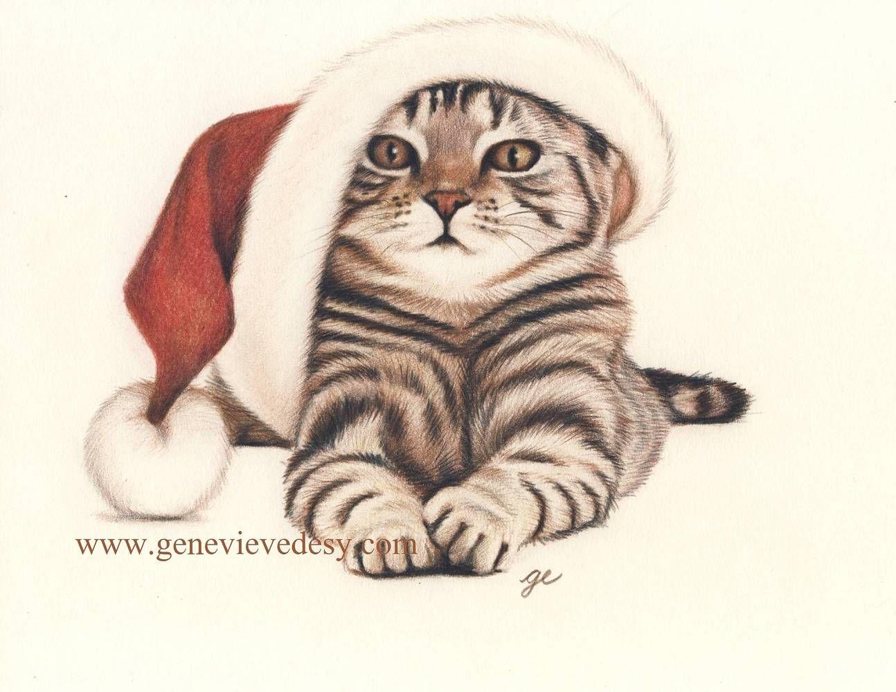 Chat de no l christmas cat reproduction gicl e d 39 un - Coloriage de chat de noel ...