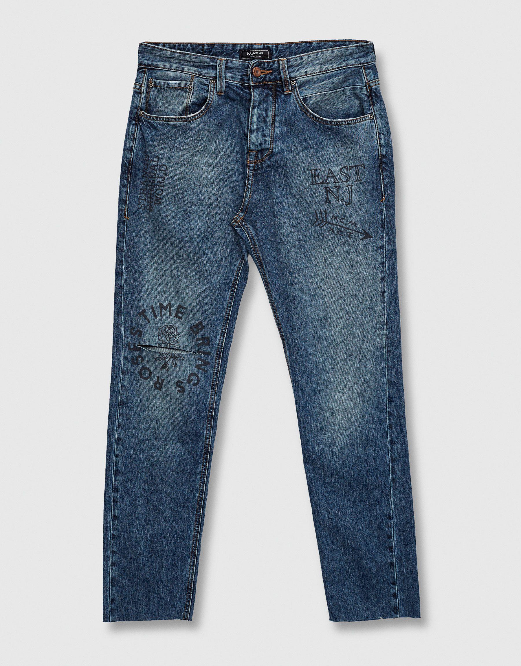 Jeans Slim Fit Print Texto Jeans Ropa Ropa Hombre Pull Bear Espana Moda Estilo Moda Pantalones