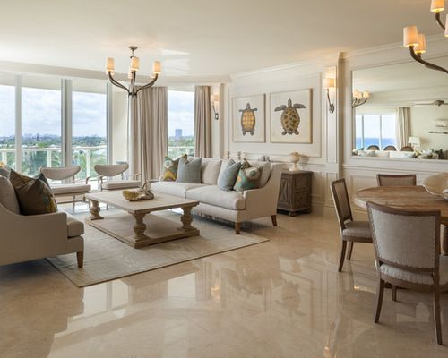 Living Room Design In Beach Style With A Beige Italian Polished Marble Floor