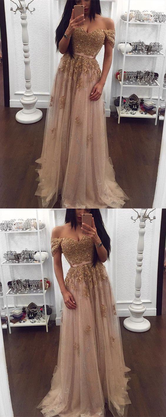 2019 New Arrival Golden Sequin Off Shoulder Floor-Length Prom Dresses 00eb66199