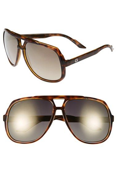 156b5bae6dc Gucci Vintage Inspired Stripe 63mm Aviator Sunglasses available at   Nordstrom