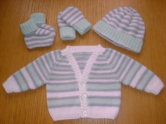 Pdf Knitting Pattern Download For Premature Baby Cardi Hat Booties