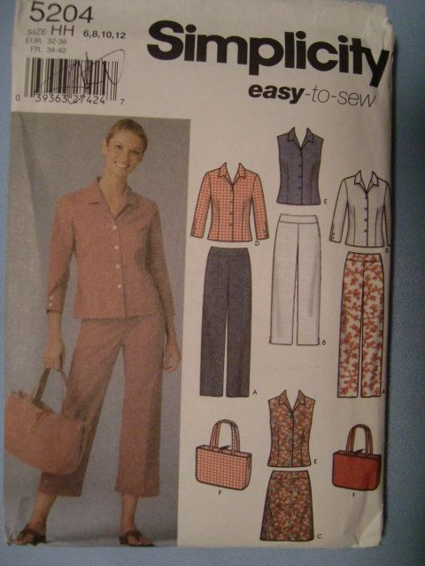 Simplicity Pattern No. 5204 Misses' Pants In Two Lengths, Skirt, Shirt And Bag Size 6-8-10-12 UNCUT by ElliesStudio1 on Etsy