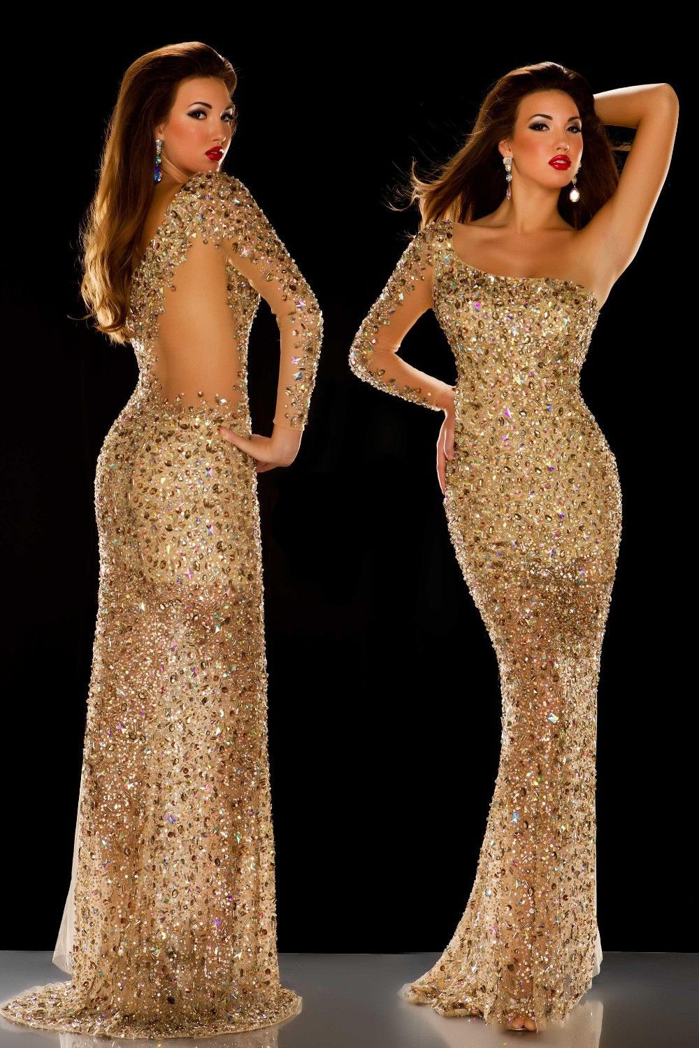 new arrival gorgeous sheath gold shinny crystal beaded single