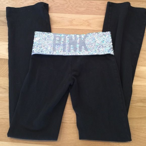 Victoria's Secret PINK bling XS Good used condition bling is in excellent condition and black has normal fading. PINK Victoria's Secret Pants Boot Cut & Flare