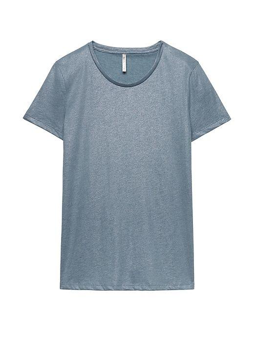 d8b68f1a7 Banana Republic Womens Supima® Cotton Crew-Neck T-Shirt Metallic Silver Star