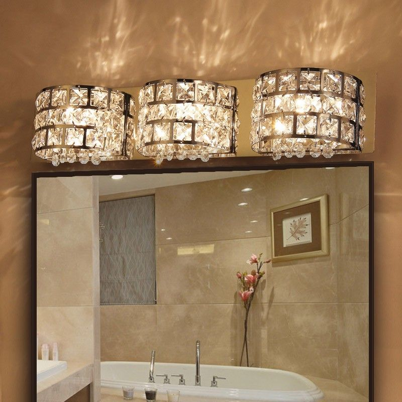 Modern LED Clear Crystals and Stainless Steel Bath Vanity Light Wall ...