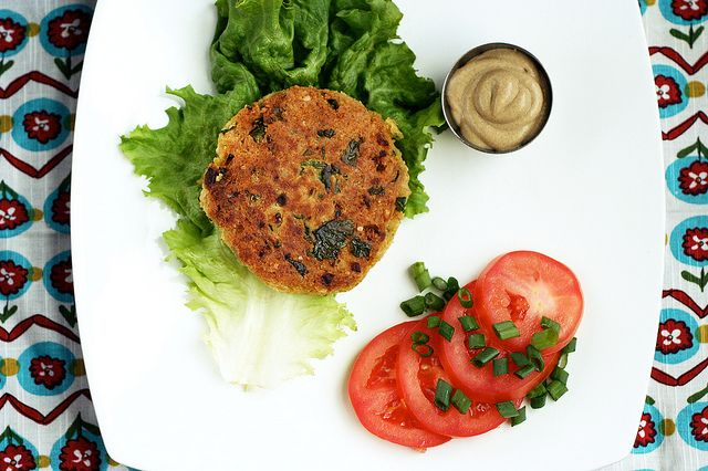 Chickpea and Brown Rice Burgers--needs more heat