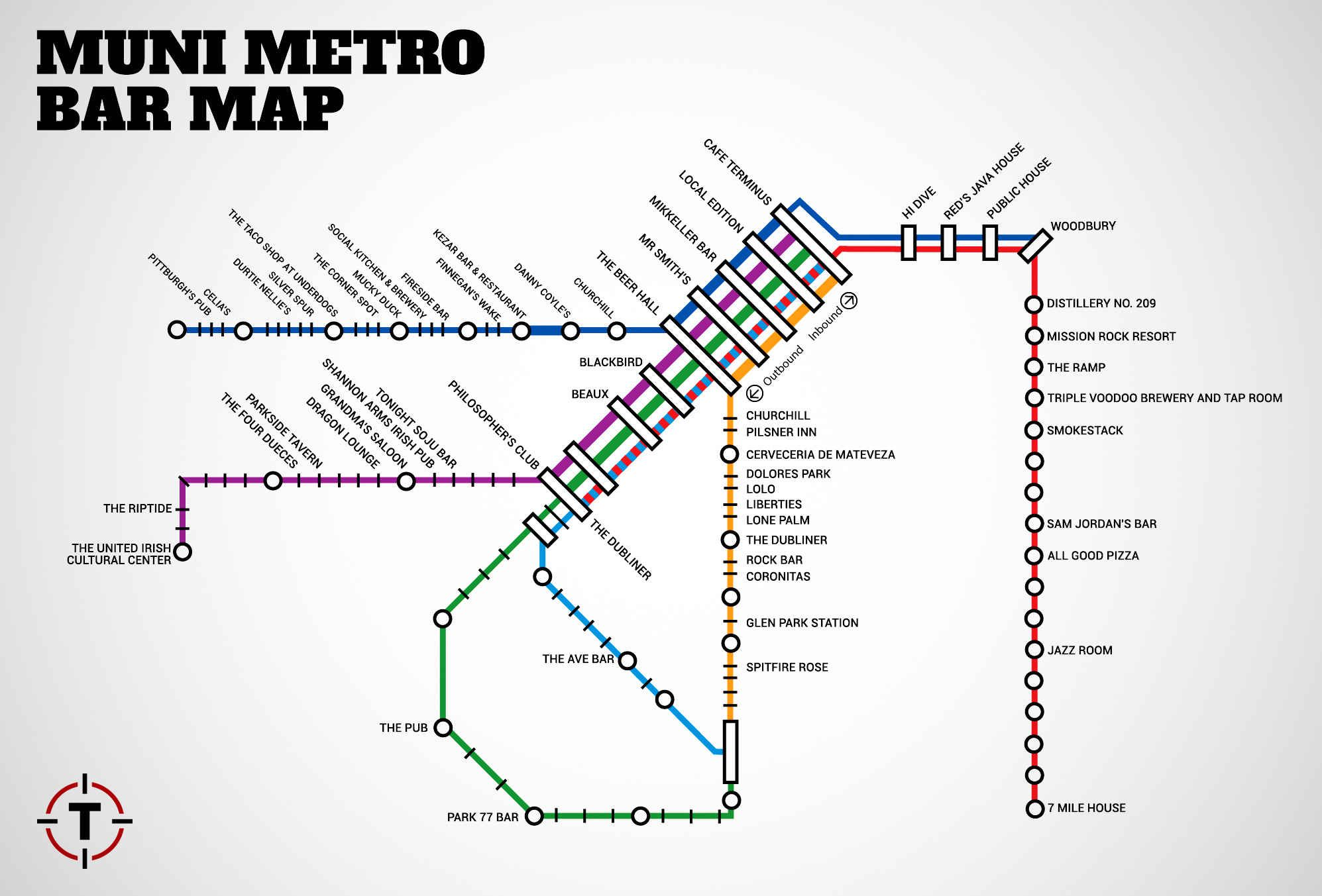 San Francisco Muni Metro Map.Sf S First Ever Muni Metro Bar Map San Francisco Pinterest Map