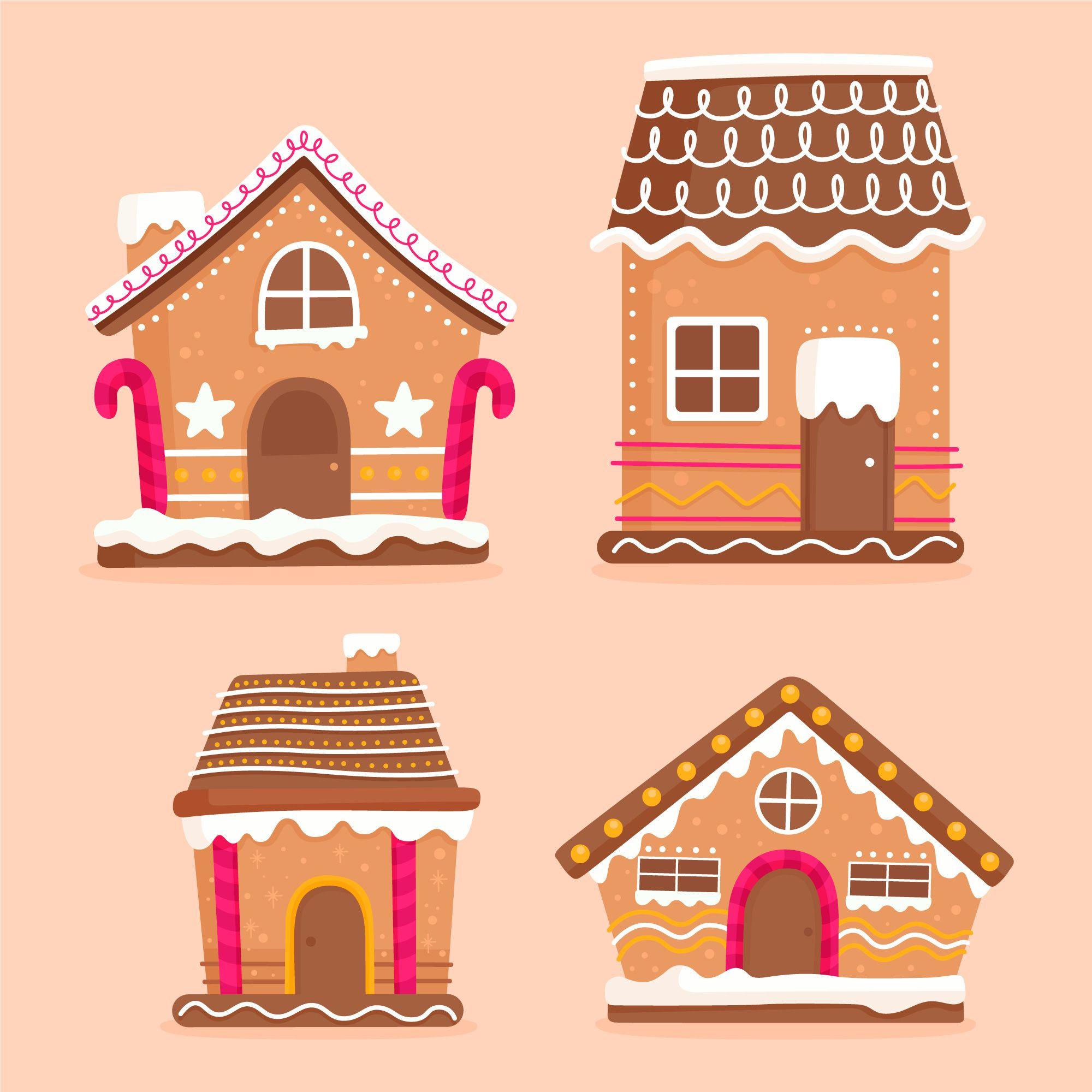 Download Flat Design Gingerbread House Collection For Free In 2020 Gingerbread House Design Vector Free