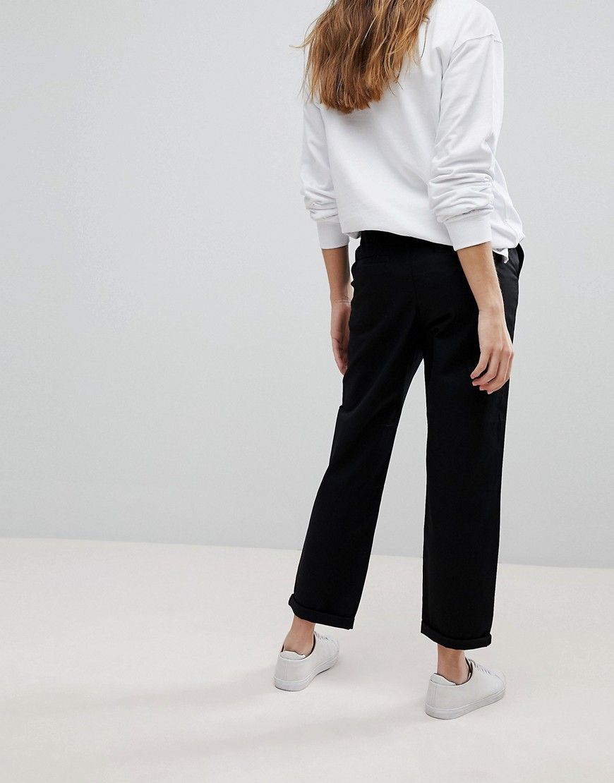 0cc8403f981af0 DESIGN chino pants in black | Products | Pants, Fashion, Asos
