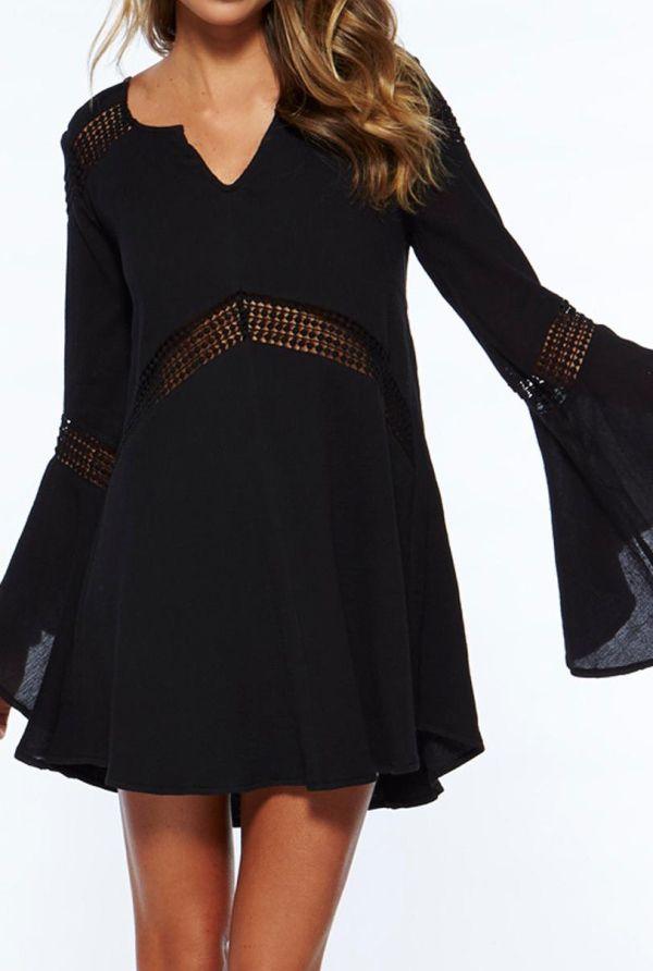 7546f15161f55 Black V Neck Bell Sleeve Hollow Dress
