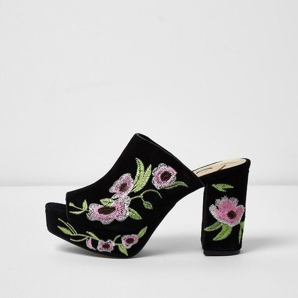 ceaf21b433d River Island Black floral embroidered block heel mules ( 40) ❤ liked on  Polyvore featuring shoes