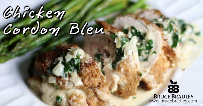 Bruce Bradley's Chicken Cordon Bleu uses 100% real ingredients and is a delicious way to cook a special meal for your family or entertain with a make ahead meal!