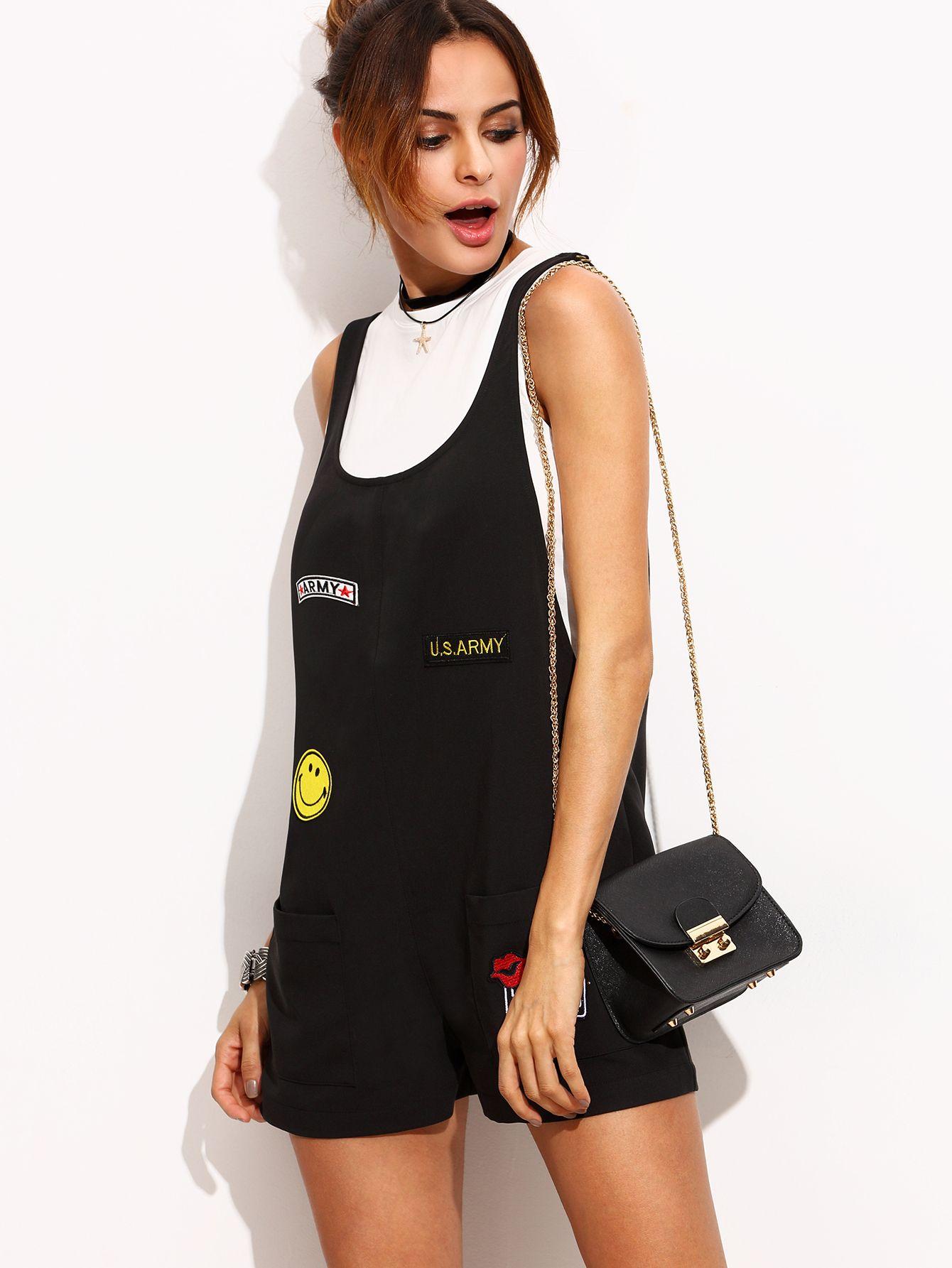 47f517e876 Shop Black Patch Scoop Neck Short Jumpsuit online. SheIn offers Black Patch Scoop  Neck Short Jumpsuit & more to fit your fashionable needs.