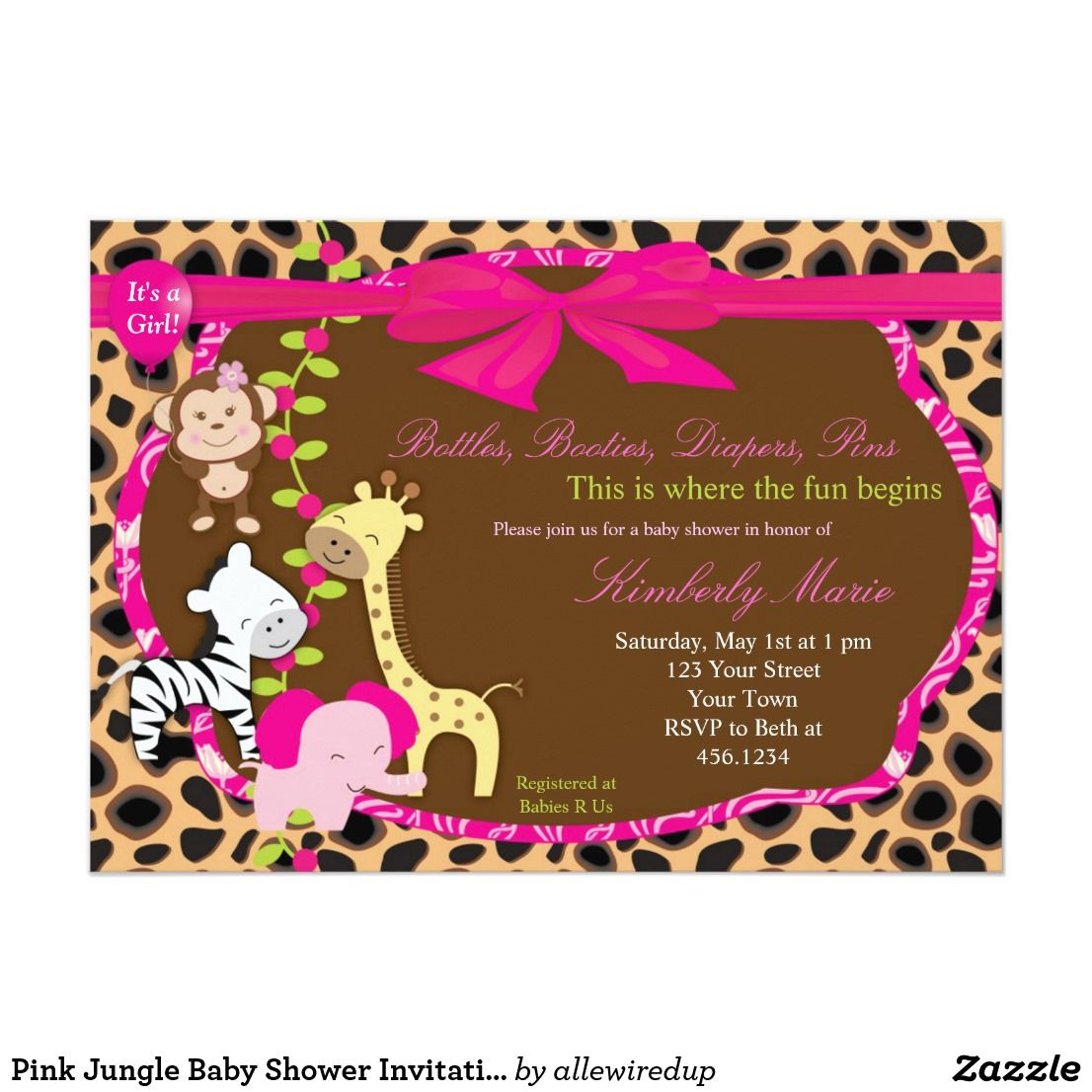 Pink Jungle Baby Shower Invitation In 2018 Oh Baby Shower