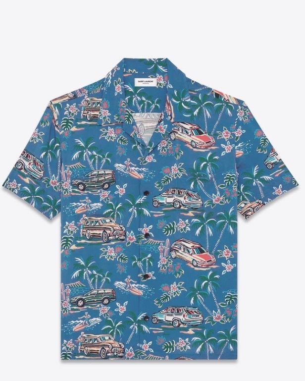 00b277d7fa029 Saint Laurent YSL SS17 Blue short sleeve flower shirt     . Summer ...